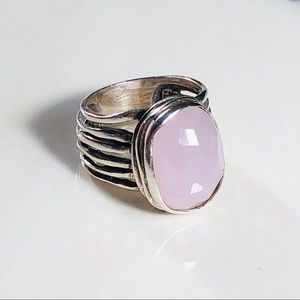R1851 SILPADA Size 7 Rose Glass and Silver Ring